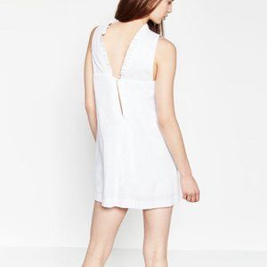 Zara White Poplin Jumpsuit Dress with High Neck